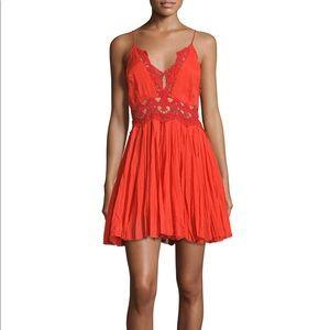 Free people Ilektra Lace Minidress - Red Orange